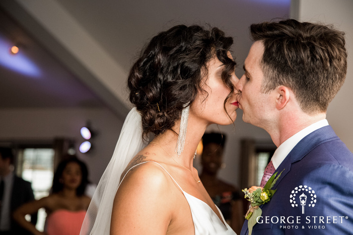 lovable bride and groom at reception