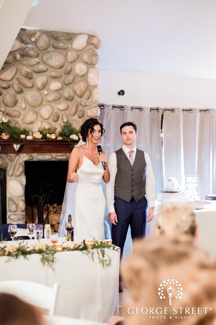 pretty bride and groom at reception