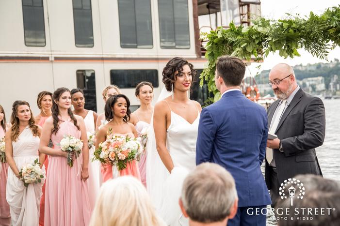 pretty bride and groom at wedding ceremony