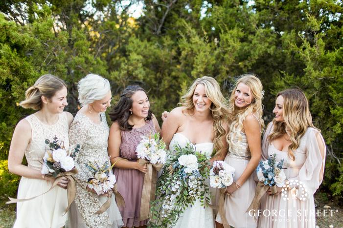 mismatched rustic bridesmaids Dallas wedding photography