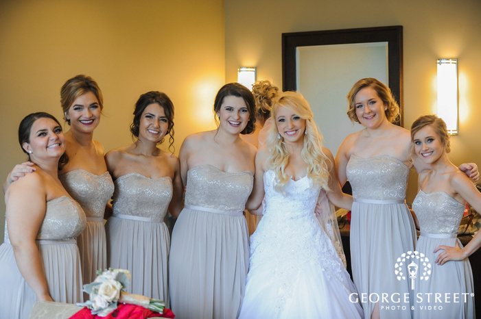 cherry creek golf club beautiful bride and group in room detroit wedding photos