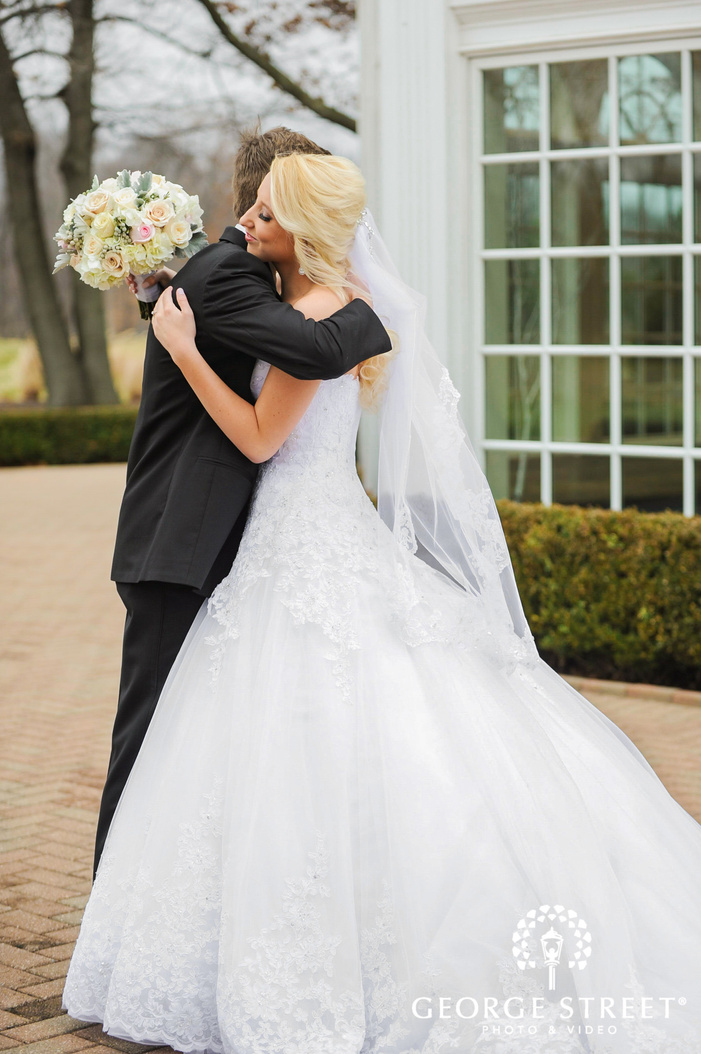 cherry creek golf club cute bride and groom first sight moment detroit wedding photos