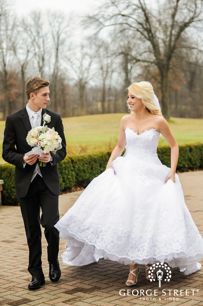 cherry creek golf club cute couple on pathway detroit wedding photos