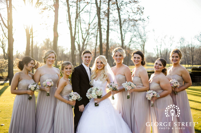 cherry creek golf club detroit beautiful group and couple in garden wedding photos