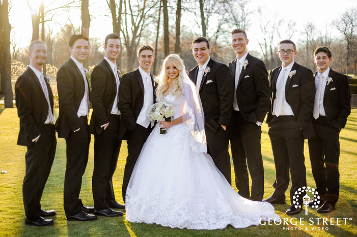 cherry creek golf club detroit joyous group and couple in grassyland wedding photos