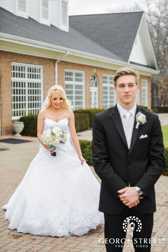 cherry creek golf club happy bride and groom first sight detroit wedding photos