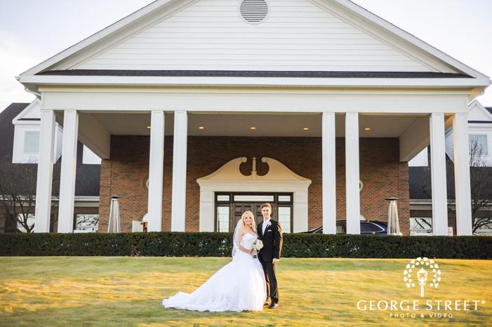creek golf club blissful couple infront of mansion detroit wedding photos