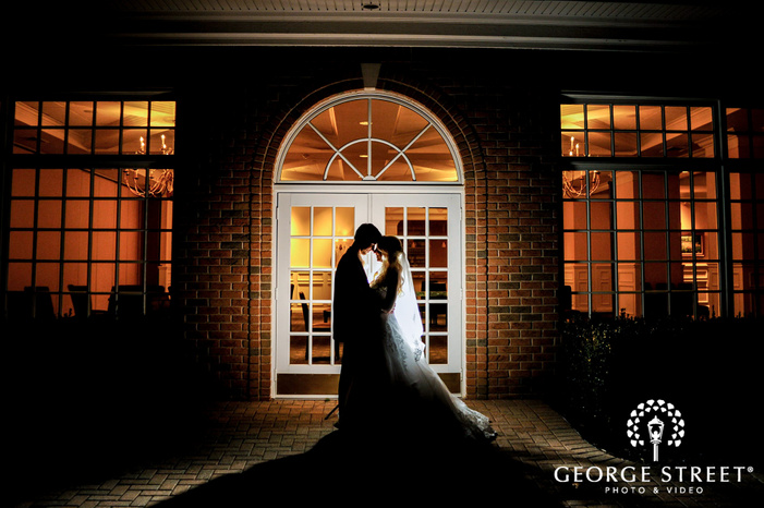 creek golf club intimate couple infront of reception hall detroit wedding photos