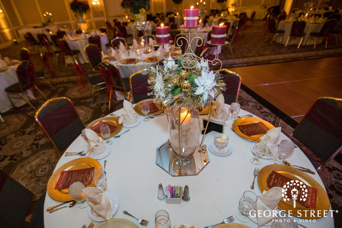 red and gold wedding place settings