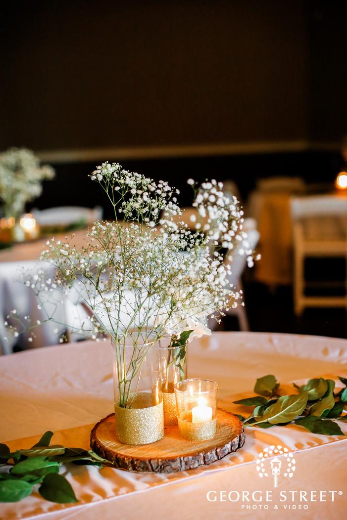 classy reception table decor detail