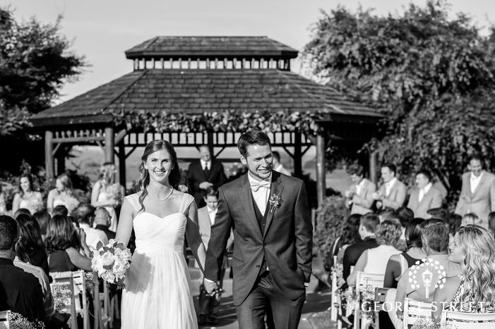 joyful bride and groom ceremony exit