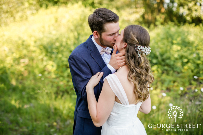 lovable bride and groom in lawn