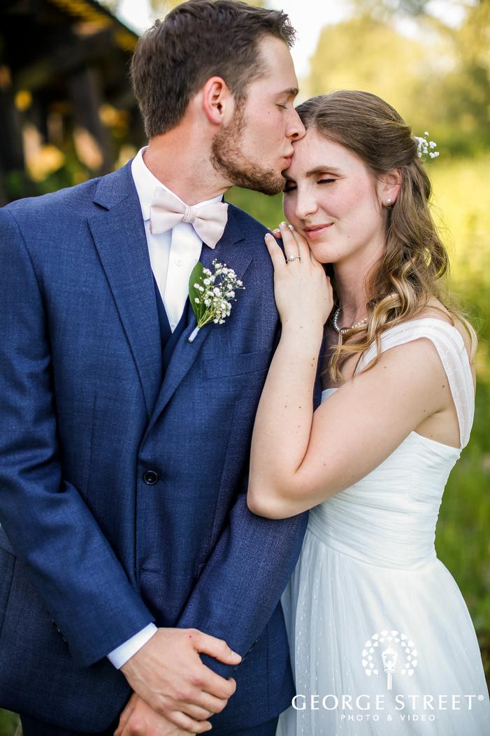 ravishing bride and groom in garden