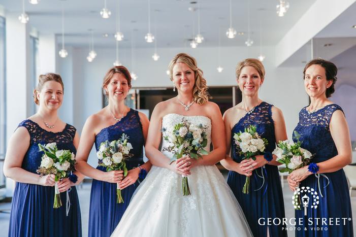 beautiful bridesmaids in corridor wedding photography