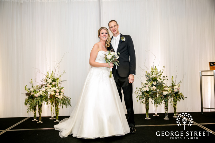 blissful couple exit in radisson blu mall of america minneapolis wedding photo
