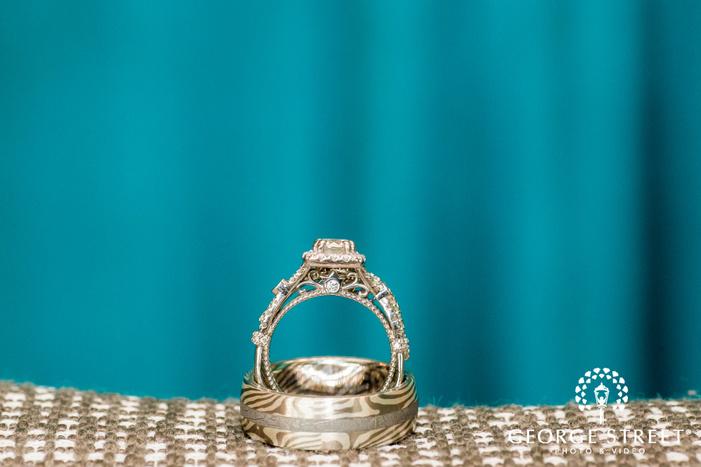 elegant bride and groom wedding rings wedding photo
