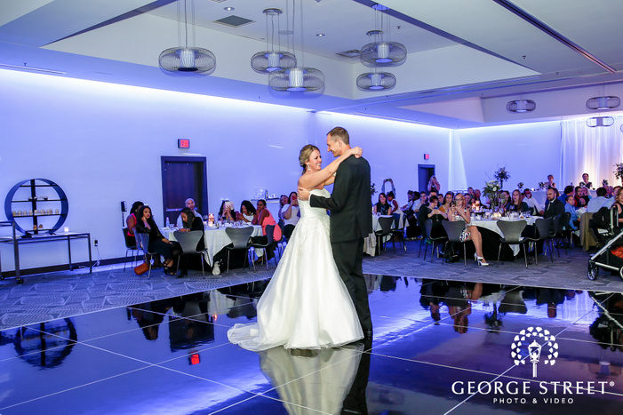 romantic bride and groom first dance at reception wedding photography
