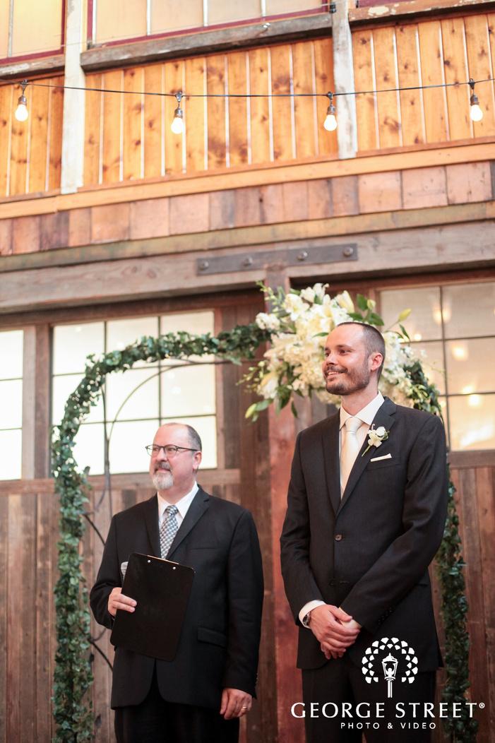 Sodo Park Seattle indoor wedding ceremony