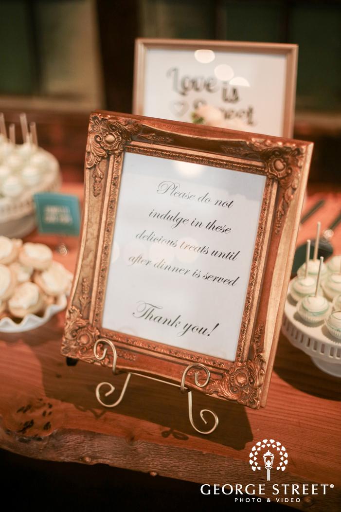 dessert table wedding signs