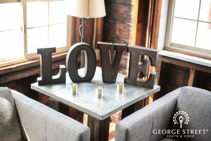 love metal letters wedding decor inspiration