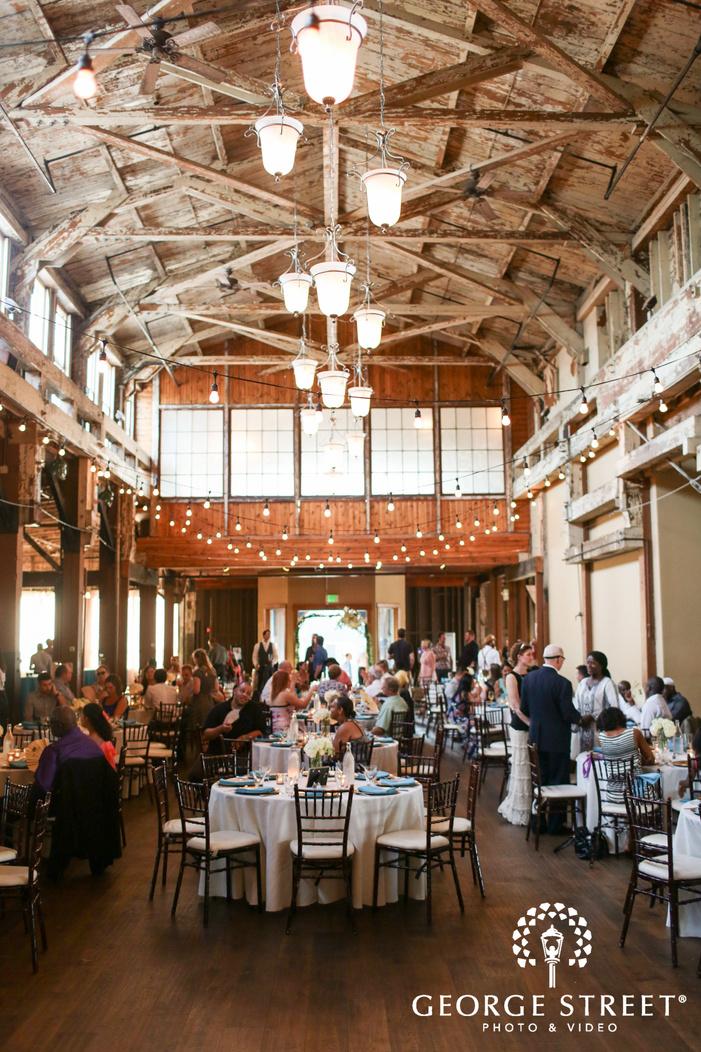 modern rustic indoor wedding reception