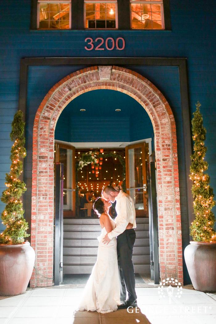 nighttime spotlight wedding portraits