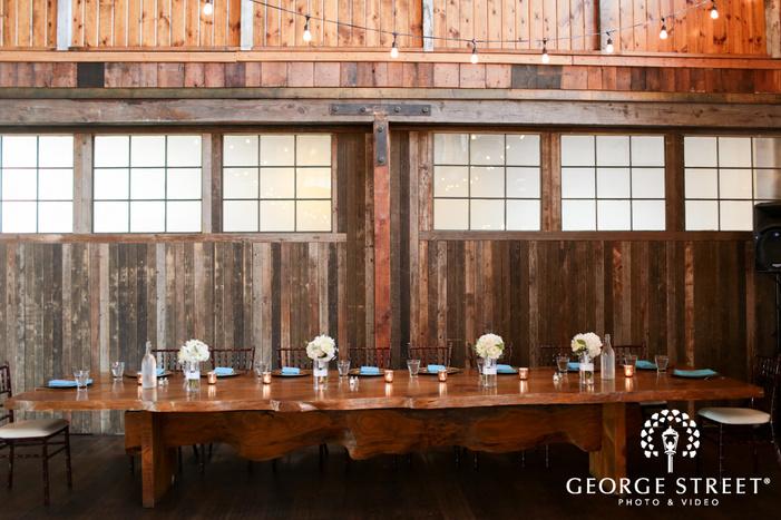 rustic wooden indoor wedding reception