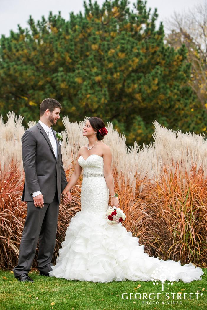 adorable bride and groom in front of meadows wedding photos