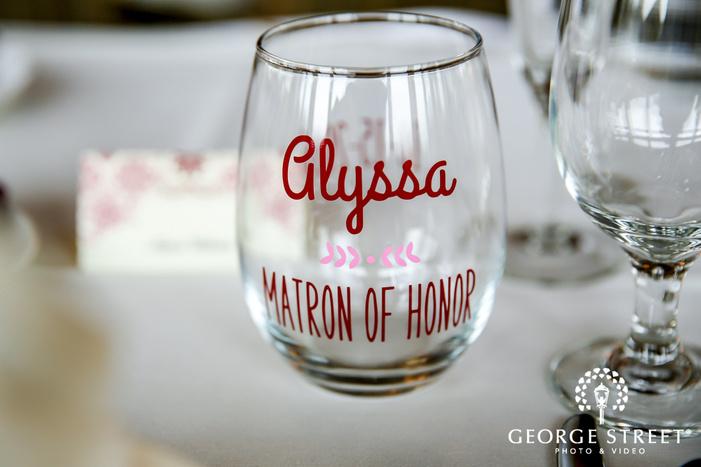 adorable customized bridesmaid drink glass wedding photo