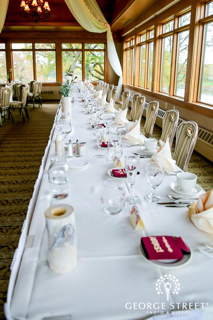 classic reception hall table setting wedding photo