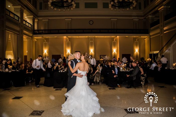 blissful bride and groom reception dance wedding photo