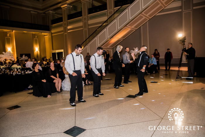 groom and groomsmen reception dance wedding photos