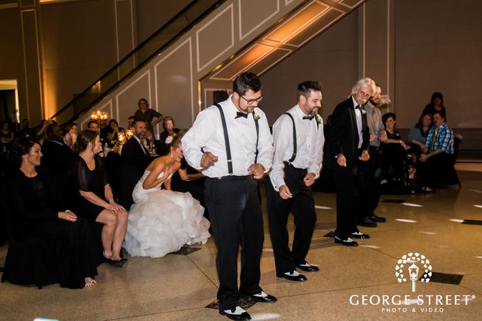 groomsmen reception dance wedding photo