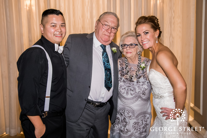 pretty bride and groom with guests wedding photos