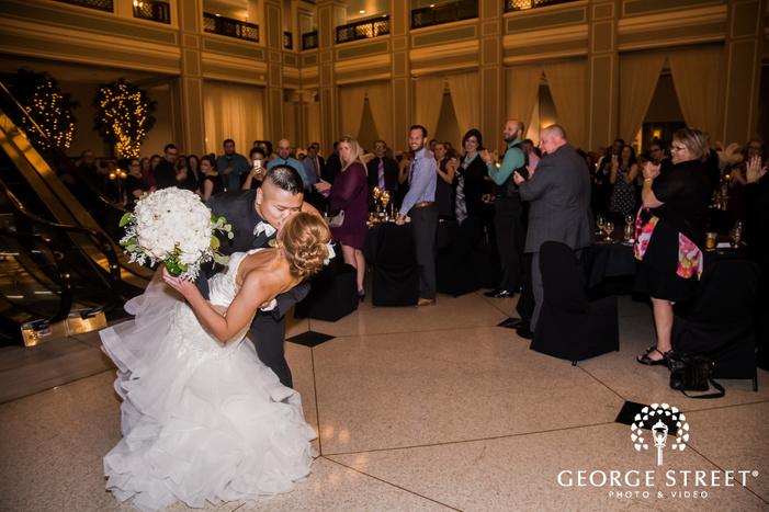 romantic bride and groom on reception entrance