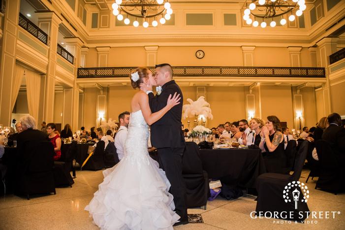 stunning bride and groom reception dance