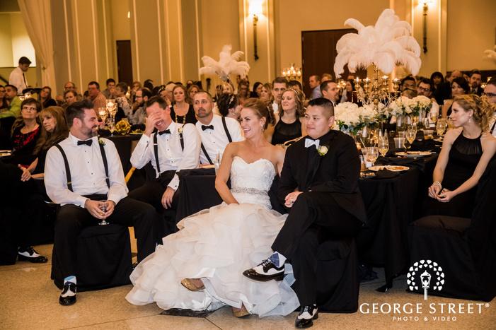 sweet bride and groom on reception toast wedding photos