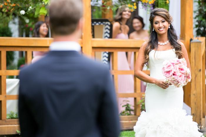 bride outdoor first look