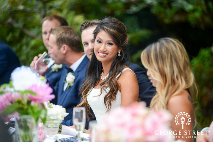 smiling bride outdoor Seattle wedding