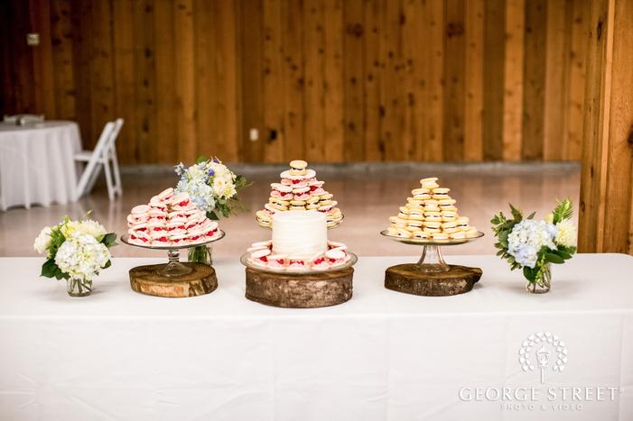 delicious dessert table in reception wedding photo