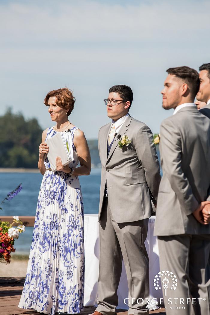 emotional groom first look at wedding altar wedding photo