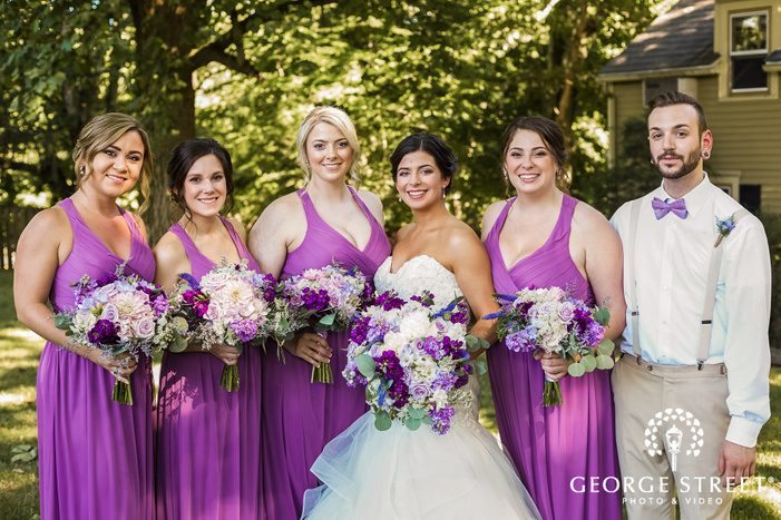 attractive bride and bridesmaids in lawn