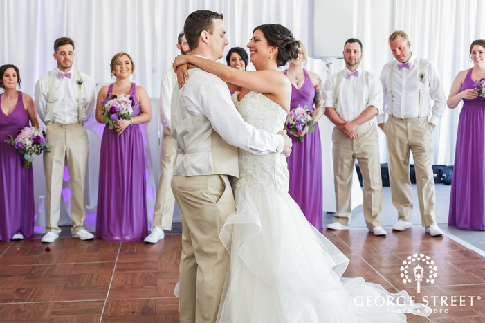 attractive bride and groom reception dance