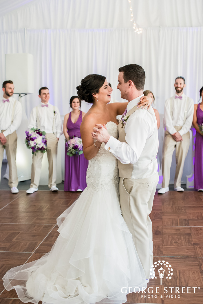 excited bride and groom reception dance at crossing vineyards and winery in philadelphia