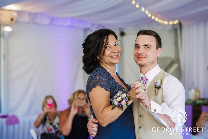 stunning groom and mother reception dance