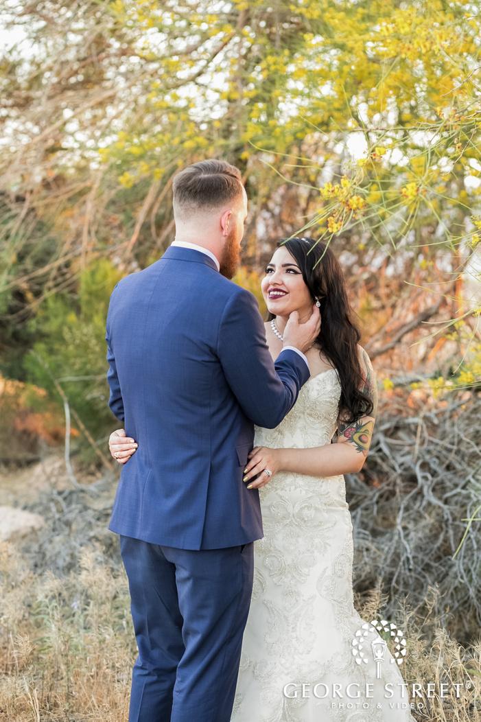 happy bride and groom in garden wedding photo