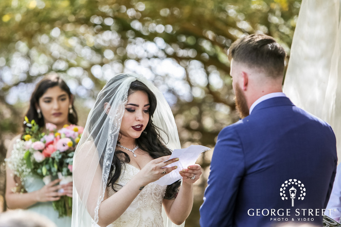 happy wedding vows exchange in wedding ceremony wedding photo