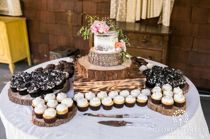 mesmerizing dessert table setup in reception wedding photo