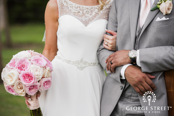 beautiful outdoor bride and groom portraits heritage springs dallas ring detail