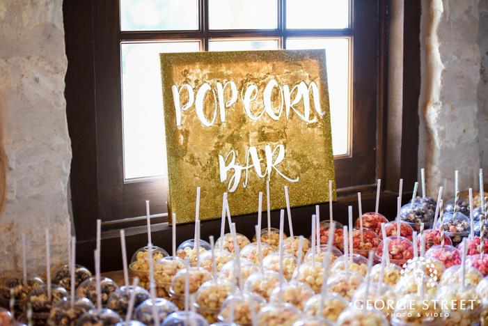 heritage springs dallas indoor wedding reception popcorn bar wedding favor